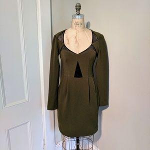 Nanette Lepore Lace Panel Long Sleeve Crepe Dress